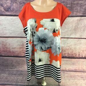 Calvin Klein Blouse Shirt Womens Xl Orange Black
